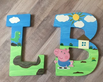Peppa pig/George wooden letters