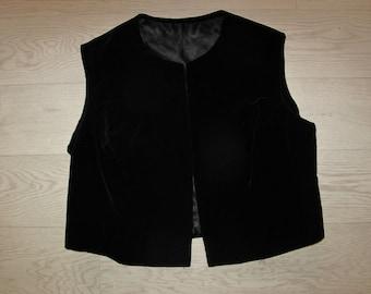 Black velvet gilet waistcoat  size S/M ladies