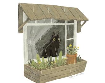 """Window Cat 8x10"""" print"""