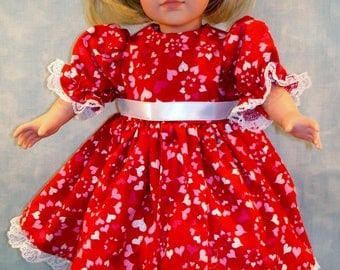 18 Inch Doll Clothes - Red Glittery Swirly Hearts Valentine's Day Dress made to fit 18 inch dolls