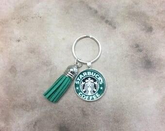 AUGUST SALE Starbucks Keychain with Green Tassel Coffee Gift Under 10