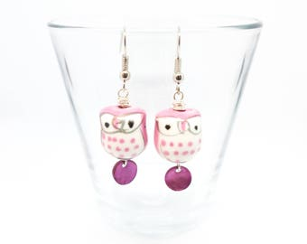 Pink and White Porcelain Owl Earrings