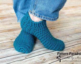 Crochet Pattern for Men's Slippers, Snappy Slippers Adult Slippers, House Shoes, Socks, PDF 17-351