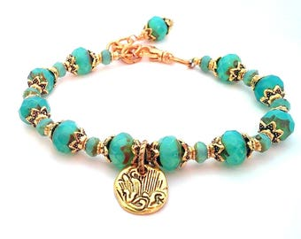 Turquoise Bracelet, Beaded Bracelet, Charm Bracelet, Bohemian Jewelry, Summer Bracelet, Layering Bracelet