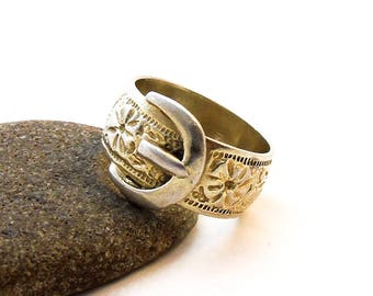 Vintage Sterling Silver Buckle Ring, Belt Ring, Silver Ring, Buckle Ring, Wedding Ring, Eternity Ring,  W 1/2, 11.25, 1983