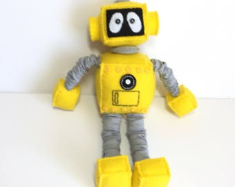 Cute yellow Standing Plush Felt Robot