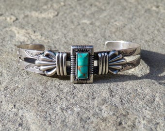 Turquoise and Silver Cuff,Vintage Fred Harvey Style Bracelet,Vintage Tourist Jewelry,Turquoise Cuff,Turquoise Jewelry, Native American Cuff