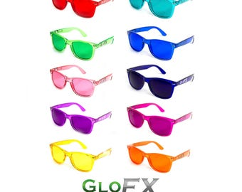 GloFX Color Therapy Glasses (Pack of 10) Chakra Balance Fashion Sunglasses Mood Enhancing Optics Ultimate Frame Rave Eyewear