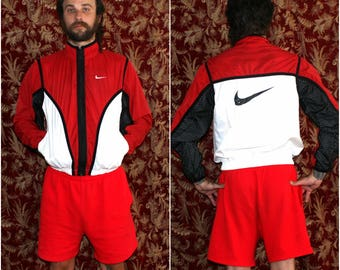 90s Nike Windbreaker. Red And White Multi Color Block Zip Up Nylon L Jacket.Athletic Dope Funky Jogging Coat Retro 90s Hip Hop