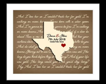 Unique gifts for couple, anniversary gift, song lyric wall art, housewarming gifts, ANY state, personalized, new home posters, map of texas