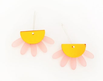 Sunset Goddess dangle drop earrings - pink forsted and orange mirror acrylic