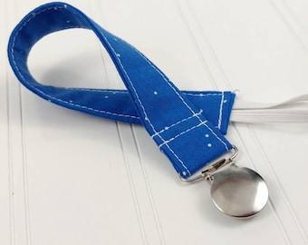 Pacifier Clip / Leash - Blue Dots