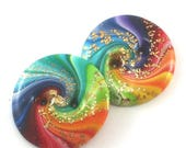 CIJ SALE Colorful swirl buttons, polymer clay buttons in rainbow colors, unique spiral pattern, set of 2 rainbow buttons with gold, handmade