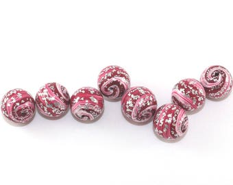 Polymer clay ball beads in red, pink and silver, artisan beads, round stripes beads for jewelry making, 8 handmade beads, unique beads