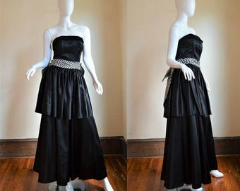 Dramatic Black & White 80s Does the 40s Gunne Sax Gown Bust 35""
