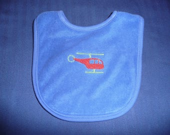 Terrycloth bib embroidered with helicopter