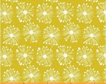 Yellow Organic Cotton Burst Chartreuse by Carolyn Gavin for Windham Fabrics Hand Picked Modern Fabric Collection Starburst Fabric Floral