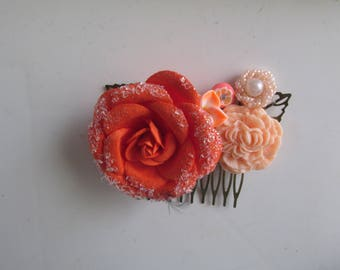 Coral Hair Comb, Floral Hair Comb