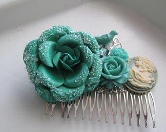 Teal Floral Hair Comb, Bridal Hair Comb