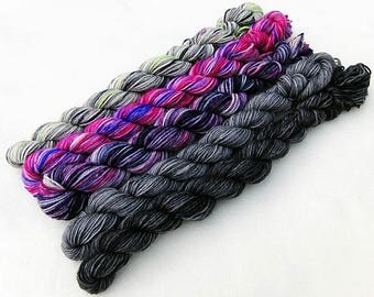 Handdyed Miniskeins, 75 Wool, 25 Nylon 100g 3.5 oz. #7