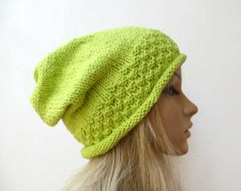 Sale! Green Cotton Slouchy Beanie - Hand Knit Hat - Women Knit Hat - Hand Knit Recycled Cotton Slouch - Eco Friendly - ClickClackKnits
