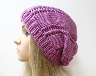 Women Pink Slouchy Beanie - Hand Knit Hat - Women Knit Hat - Acrylic Slouchy Hat - Women Slouch Beanie Hat - Fall Winter - ClickClackKnits