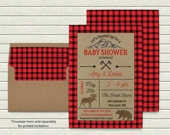 Lil' Lumberjack Invitation | Baby Shower | Printable Digital File | BSI107DIY