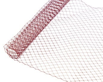 """1 Yard x 10"""" Maroon Russian Millinery Birdcage Veil Netting - Available in 17 Colors"""