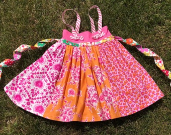 Pink Boutique Girls Knot Dress, Size 4, Tie Sash Twirly Skirt,  Pink Orange Flower,  Cheetah Print dress, OOAK Top Knot
