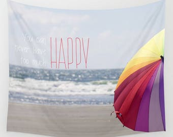 Wall Tapestry, Fabric Wall Hanging, Beach, Umbrella, Ocean, Summer, Sea, Happy