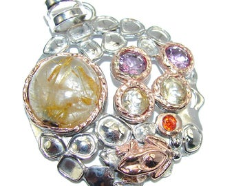Golden Rutilated Quartz, Amethyst, Peridot Sterling Silver Pendant - weight 15.80g - dim l -2, w -1 5 8, T -3 8 inch - code 2-cze-16-17