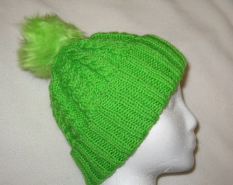100% Wool Knit Hat - Jasmine Green with cable texture