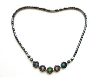 Hematite Necklace with Multicolor Cat Eye Beads 17.5 Inches