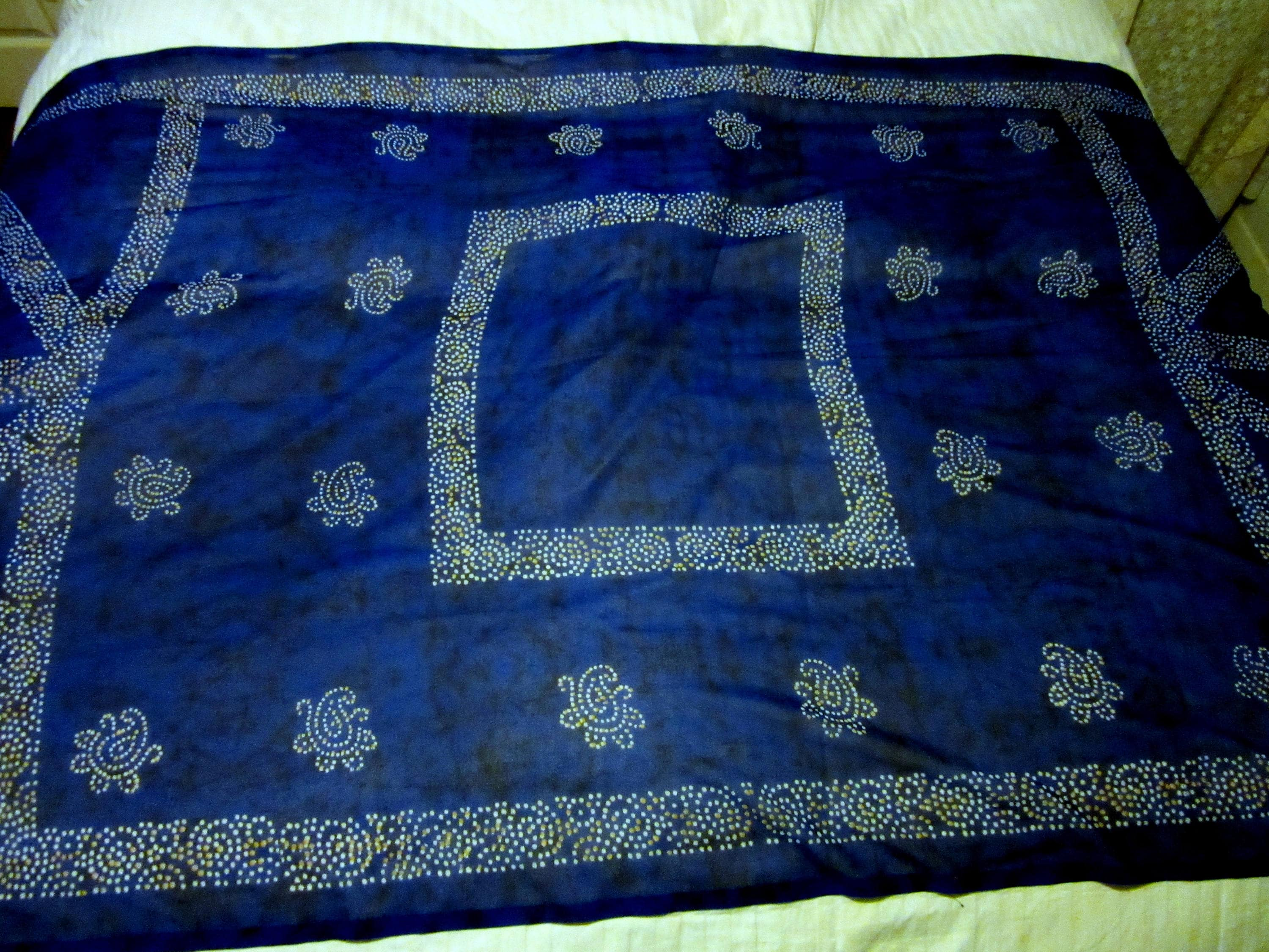 Sheer Poly Chiffon Dark Cobalt Blue Paisley Geometric Print 84 X 42 Inches Tablecloth Bed