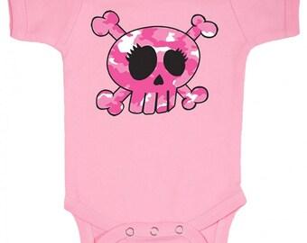 Camo Skull Baby Girl Bodysuit