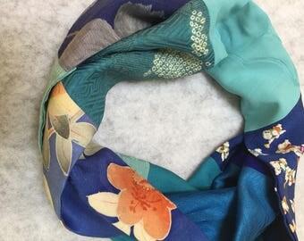 Pieced vintage silk infinity kimono scarf