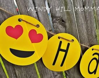 Emoji Themed Happy Birthday Banner Party Decoration Emoji Birthday