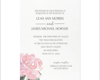 Soft Rose Wedding Invitation