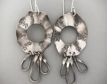 Sterling Bohemian Earrings, Tribal Style Jewelry, Silver Dangle Earrings, Hippie Chic Designs For Her, Special Gifts for Women.