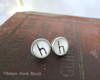 Letter H  earrings - Vintage Stamped Letterpress Letters in Stainless Steel Posts