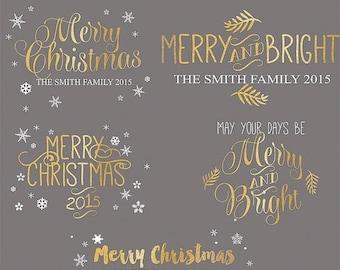 ON SALE Christmas Photography Overlays, Handlettered Christmas Photo Overlays, INSTANT Download