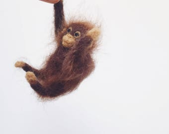 Felted Orangutan Doll - Faux Taxidermy Soft Sculpture - Needle Felted