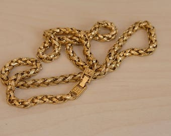 Vintage Gold Tone Thick Rope Wheat Chain Necklace Textured