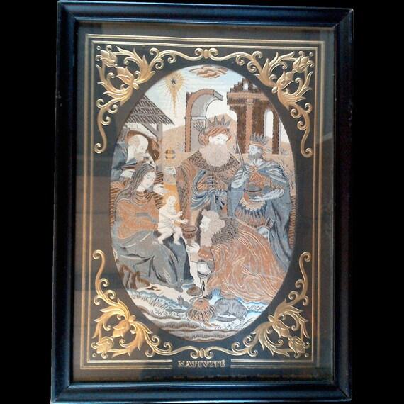 Antique french woven silk framed tapestry framed fabric nativity scene housewarming gift wedding gift religious gift christmas gift