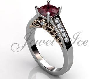 Ruby & Diamond Victorian Vintage Fleur-de-Lis Engagement Ring, 14k White Rose Gold Floral Engagement Ring, July Birthstone Ring BR-1081-5