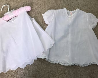 Vintage Light Pink Embroidered Cotton Baby Dress Handmade Philippines Pink Gingham Hanger Included
