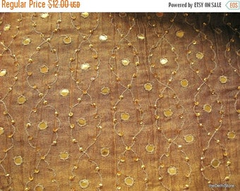 Flat 40% Off Two Tone Embroidered Crinkled Gold Tissue Fabric Sold by Yard