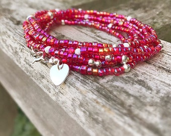 Handmade stacking wrap bracelet with japanese matsuno rainbow red seed beads and sterling and silver plated beads