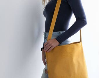 CLEARANCE SALE - Yellow Leather Tote, Suede Leather Crossbody, Yellow Leather Bag, Soft Leather Bag, Magnet Closer, Lightweight Leather