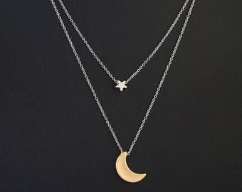 Gold and Silver Moon and Star Layered Necklace, Dainty Necklace, Delicate Chain, Crescent Moon, Mixed Metals